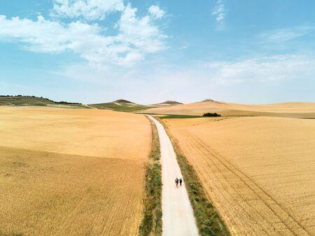 Pilgrims Walking the Camino of Santiago In Spain Countryside