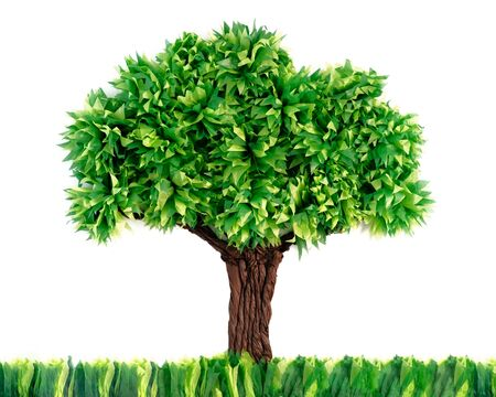 Tree Made With Recycled Paper Isolated On White Background