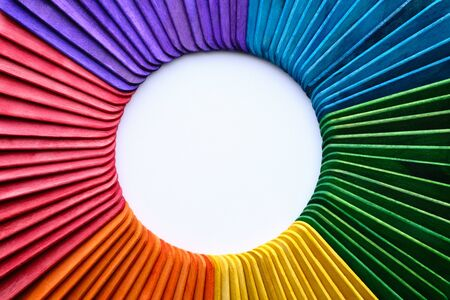 Isolated Ice Cream Sticks With Color Wheel Shape