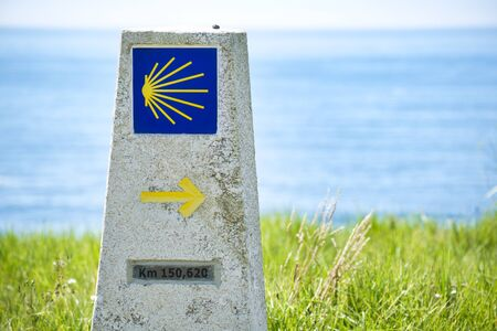 Shell Sign Marking The Distance To Santiago De Compostela