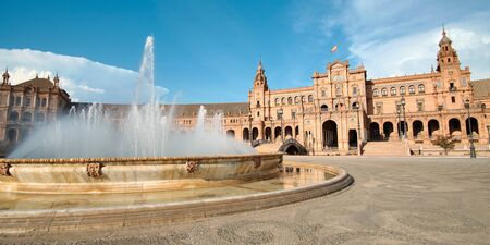 Fountain And Palace Of Plaza De Espana In Seville Spain