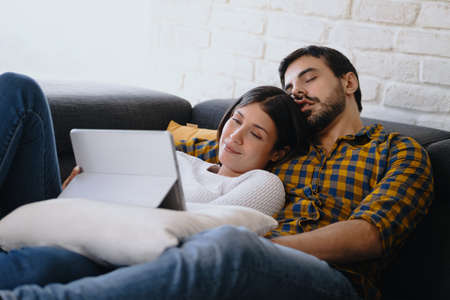 Bored Husband Sleeping While Wife Is Watching Movie Online