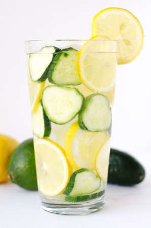 cucumber and  lemon infused  water   Stock Photo