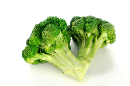 florets: broccoli florets in white background  Stock Photo