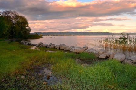 Bolsena lake at sunset