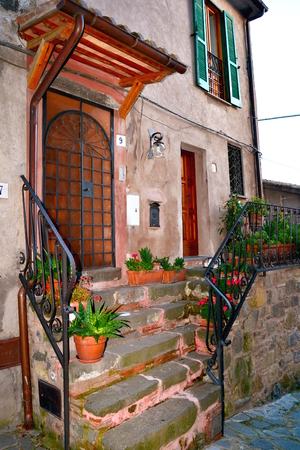 tuscia: alley of an ancient village of the high tuscia