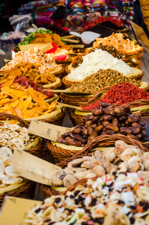 dried exotic fruit for sale at a stand. Stock Photo