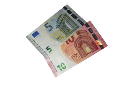 opulence: new ten and five euro banknotes Stock Photo