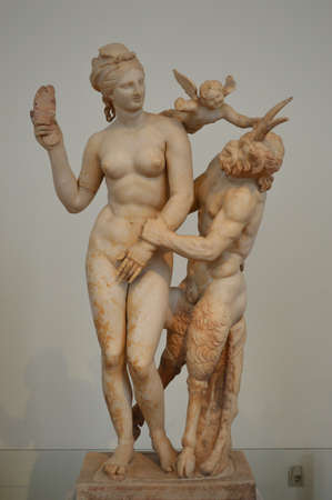 s horn: ancient Greek marble statues Stock Photo