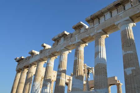 acropolis: columns of the Parthenon at the Acropolis athens Stock Photo