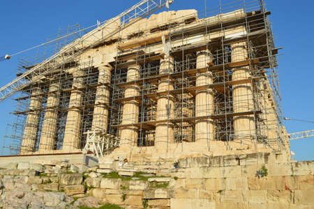 Parthenon at the Acropolis of athens front view