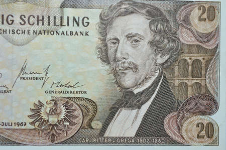 shilling: Carl Ritter Ghega railroad engineer on 20 shilling  austrian banknote