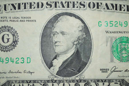 hamilton: ten united state dollars banknote