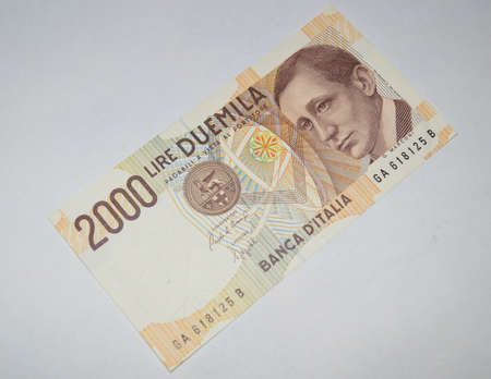 2000  lire old italian banknotes currency photo