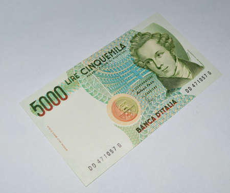 5000 lire old italian banknote currency photo