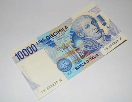 fragile economy: 10000 lire old italian banknote currency Stock Photo