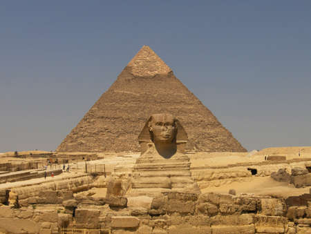 the Sphinx and the pyramids in Giza photo