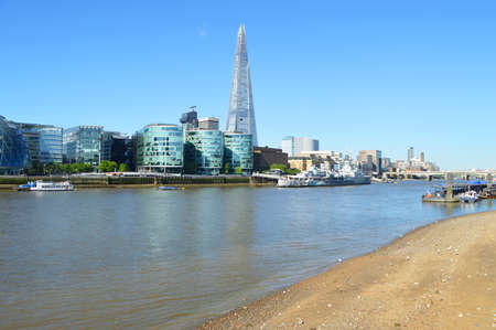 thames river beach in london Stock Photo