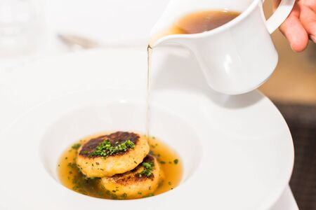 Typical Austrian meat and broth dish Stockfoto