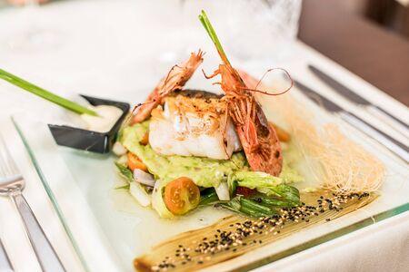 Asian dish with shrimp, and sauce Stock fotó