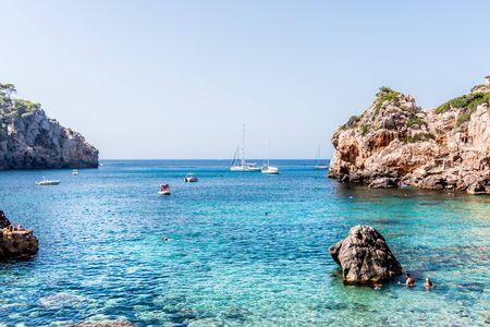 Sea and mountain landscape in Cala Deia, Majorca Stock fotó