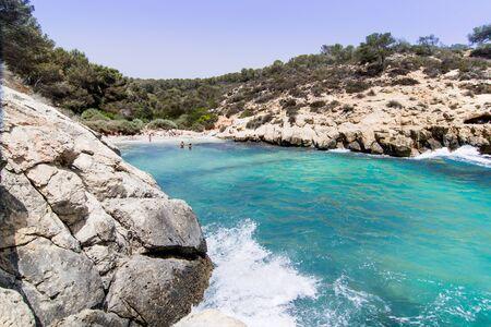 Lonely beach with blue sky, Cala de la Bella Dona, Lonely beach with blue sky, Cala de la Bella Dona, Majorca