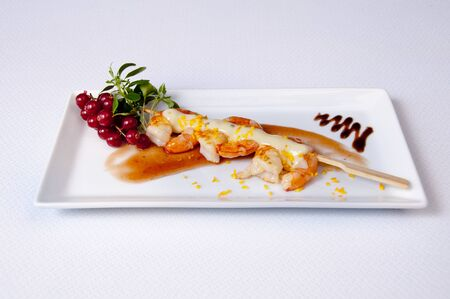 Prawn dish on a white background