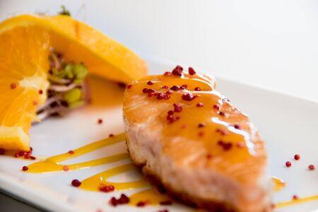 Salmon dish on a white background