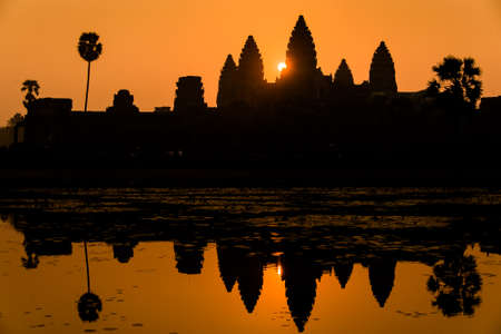 Looking a perfect clean sunrise at Angkor Wat, Cambodia  The most beautiful temple  photo