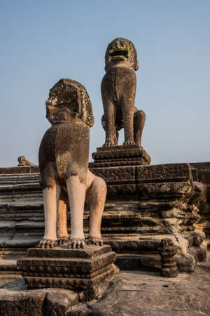 Angkor Wat Entrance Guardian Lions Sculpture  Tradition, Culture, Religion   Cambodia, ASia  photo