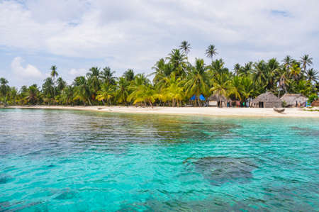 Perfect native caribbean village on crystal clear island  San Blas,Central America  Latin American Culture