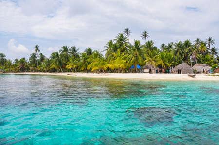 Perfect native caribbean village on crystal clear island  San Blas,Central America  Latin American Culture