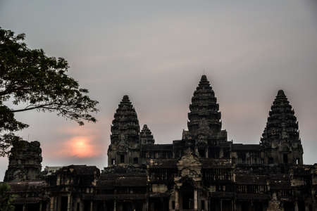 murals: Angkor Wat at Sunset  Cambodia  Temples, Ancient Civilization  Asia  Tradiotion, Culture and Religion