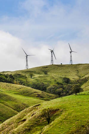 eolic: Eolic turbines, green field and clean energy concept at the top of the hills, Costa Rica. Wind Generators.