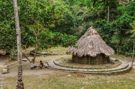 tribal park: Traditional native Hut at Tayrona National Park. Colombia, South America. Latin American Culture.