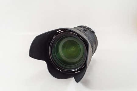 telephoto: Telephoto Lens isolates on white background. Object. Stock Photo