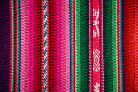 Wooven Wool Boliva traditional Fabric Background colourful Texture. Latin America