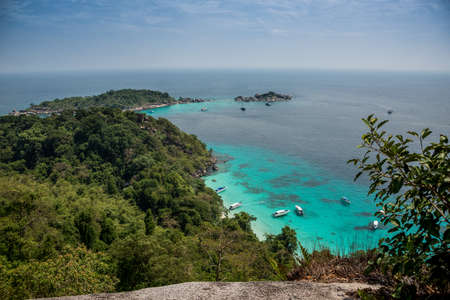 aereal: Incredible Aereal View of Tropical Turouise Beach at Similan Island.  Yacht. Thailand. Asia. Marine Park. Stock Photo