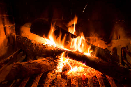embers: Vibrant home Fire.  Flames Motion.
