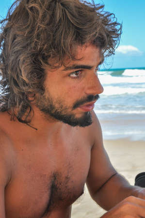 Young hairy Male at Brazil.Argentinean male. Beard. Latin American Culture. Stock Photo