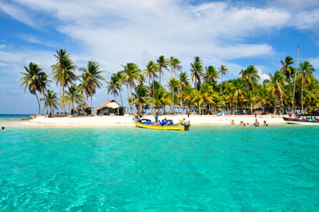 panama: Tourist arraving beautiful beach with crystal clear turquoise water.