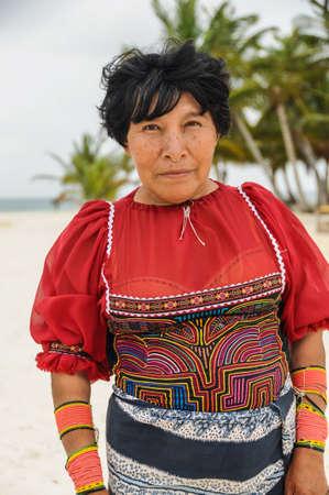 Native indian colorful portrait at caribbean island, exotic adventure, San Blas, Panama. Central America. Panama. Latin American Culture.