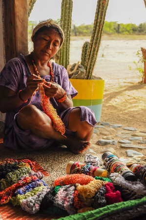 Native Indian Knitting at Guajira, Colombia. South America. Latin America Culture.