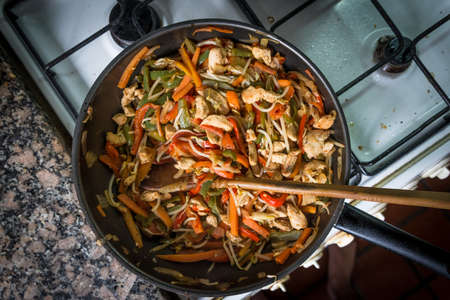 Chop Suey Meal, Wok, Vegetables healthy cuisine. Stock Photo