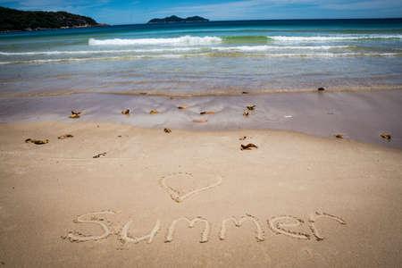 evoking: Love Summer, San Writing, Lopes Mendes beach. Ilha Grande, Paraty, Brazil. Tropical Island. Beautiful adventure.