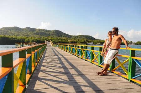 Traveling South America near San Andres tropical Island. Caribbean.