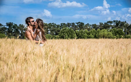 argentinean: Couple in love kissing in argentinean countryside fields. South America