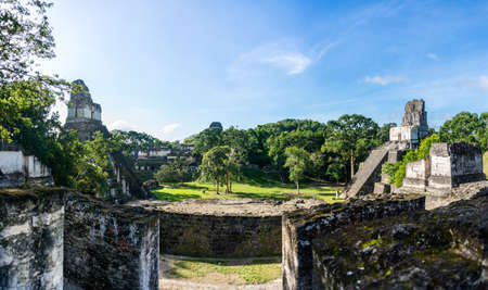 Panoramic view of Mayan historic building at Tikal Jungle. Guatemala.