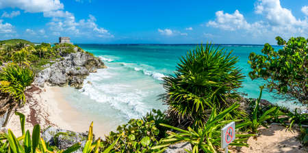Panoramic View of Caribbean coast and Mayan Ruins. Tulum park. Mexico. Traveling America.