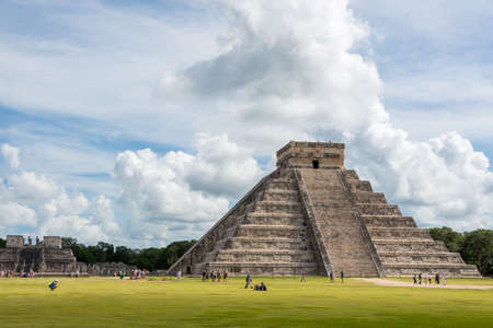 mexico culture: Turist on tour at Chihenitza, Historic Mayan City, Traveling Central America. Stock Photo